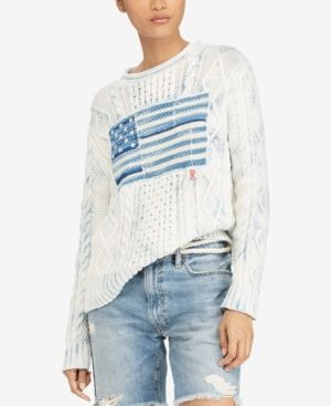 7c195eaa5f Polo Ralph Lauren Indigo Graphic Cotton Sweater - Cream Multi S ...