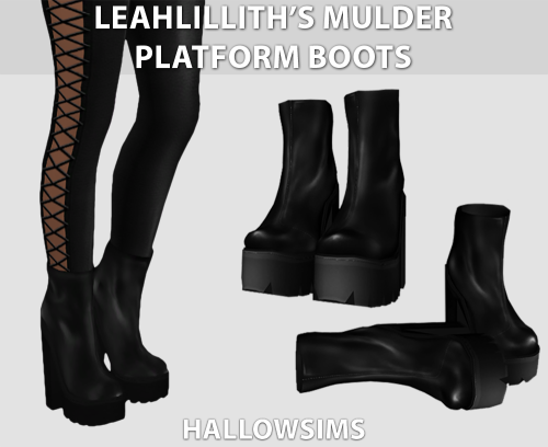 """hallowsims: """" LeahLillith's Mulder Platform Boots - Comes in 4 tones - Has Morphs. - All LOD's. - HD mod compatible - Mesh credits to LeahLillith. Download LeahLillith's Mulder Platform Boots So, we don't post anything on Sundays, so I though we..."""