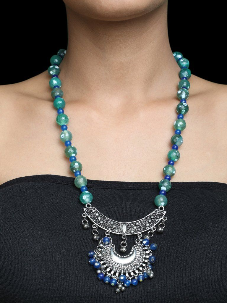 Green blue onyx silver plated necklace the loom jewellery