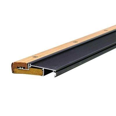 M D Building Products Adjustable 4 9 16 In X 80 1 2 In Bronze Aluminum And Hardwood Inswing Threshold Door Sweep Base Shoe Molding Floor Trim