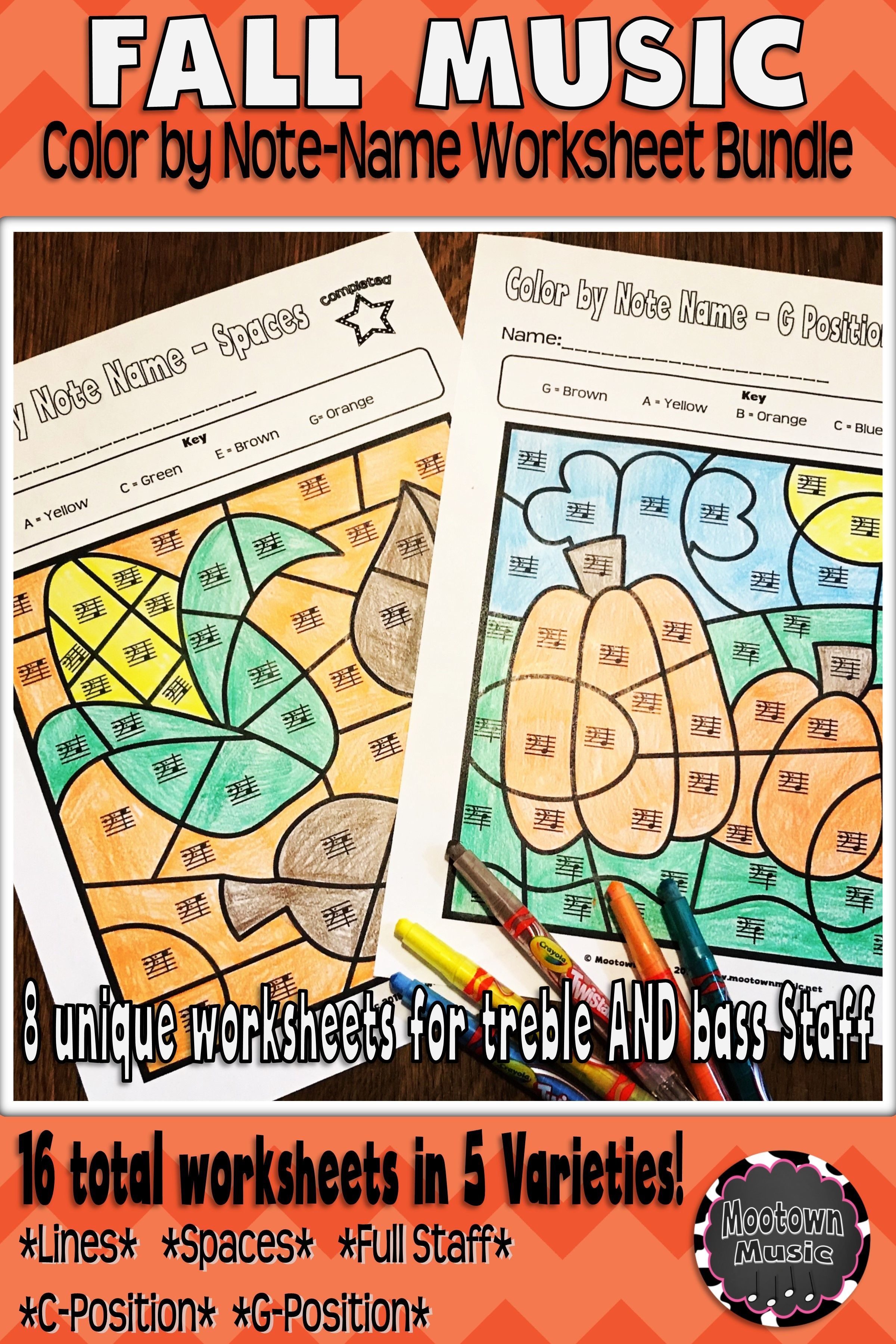 Fall Music Worksheets Color By Note Name