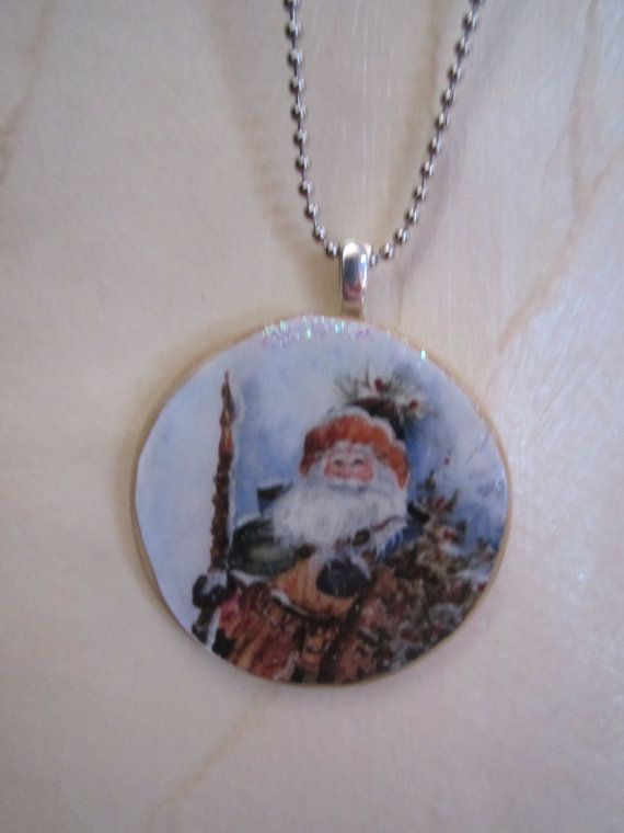 Santa pendant repurposed poker chip old fashioned by Gypsydancers