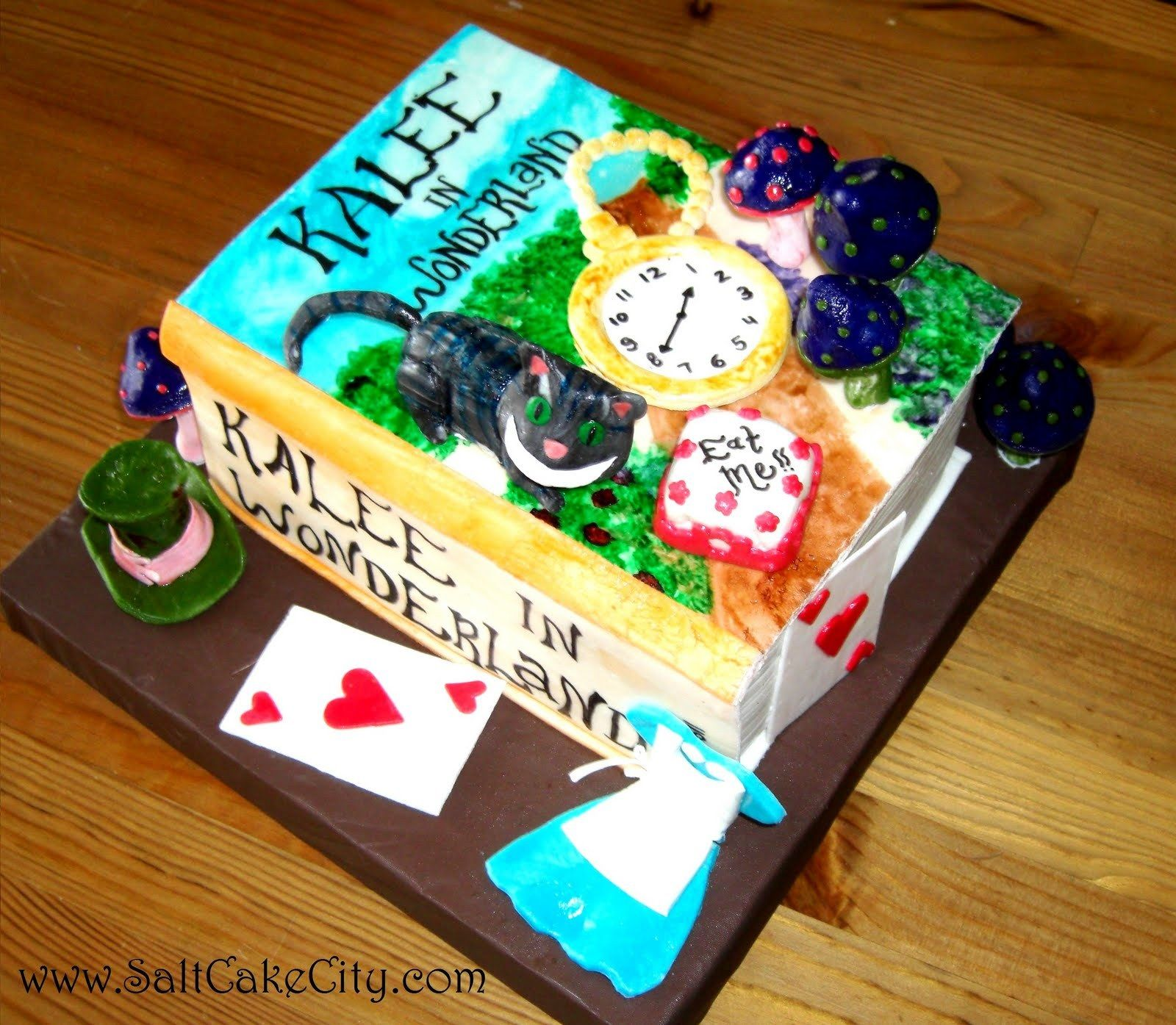 Alice In Wonderland Book Birthday Cake