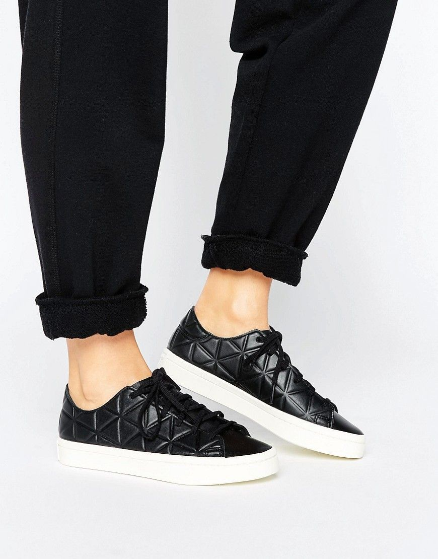 Adidas zapatilla de cuero Negro Corte Vantage Polygone Beau