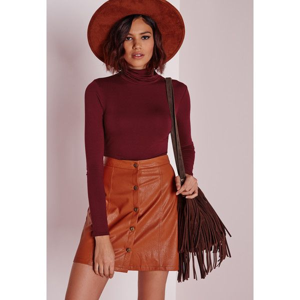 Missguided Roll Neck Long Sleeve Crop Top ($14) ❤ liked on Polyvore featuring tops, burgundy, red crop top, burgundy top, burgundy crop top, rayon tops and red long sleeve top