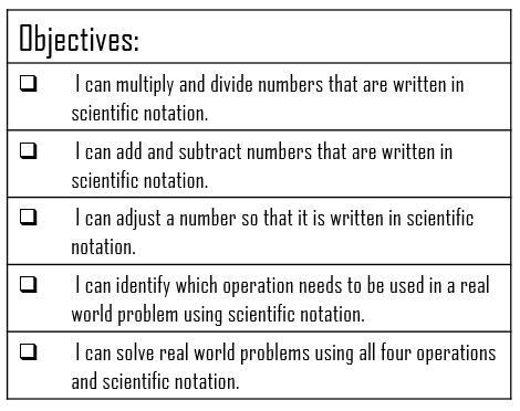 Teaching Operations with Scientific Notation Scientific notation - lesson plan objectives