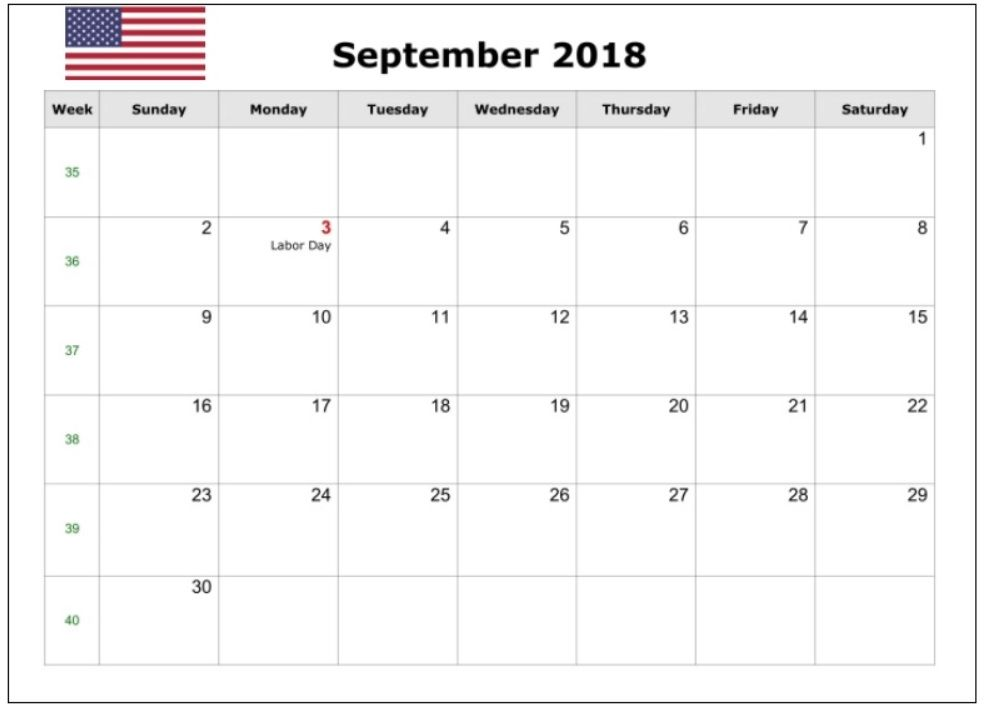 September 2018 USA Holidays Organizer | Calendar 2018 | Pinterest