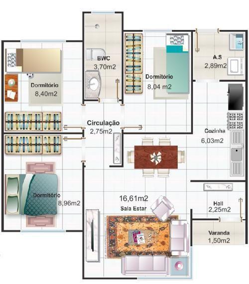 casa moderna de 67 m2 con tres dormitorios Casa Pinterest Tableau