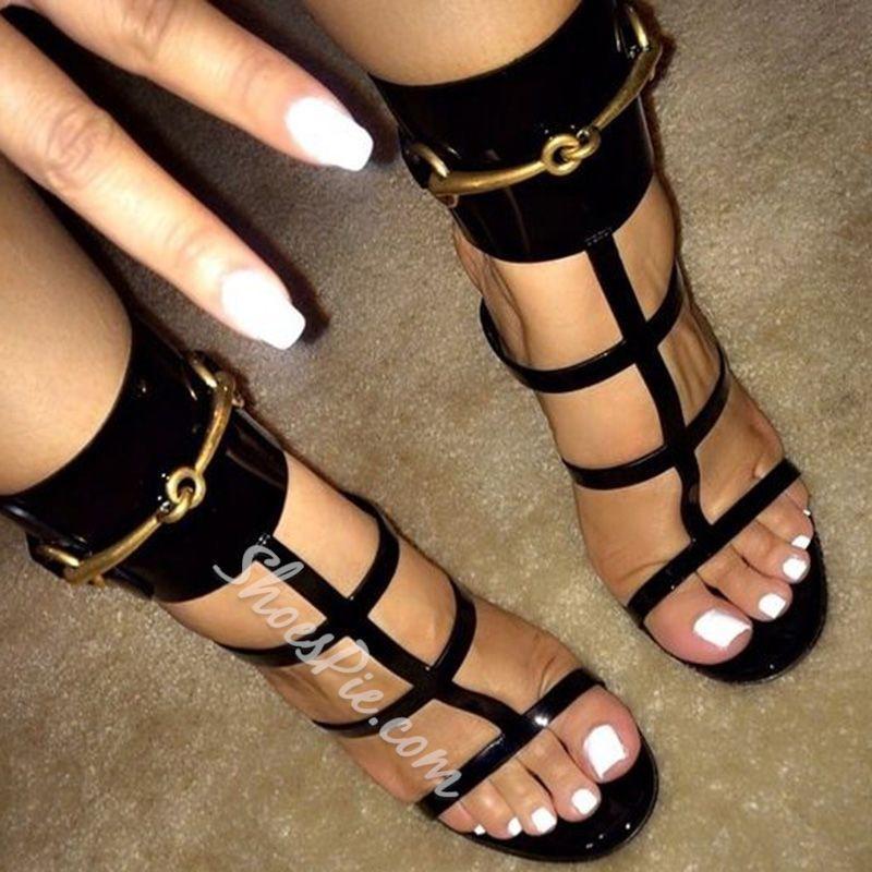 e95ea1f7a Shoespie Punky Black Strappy Sandals- Shoespie.com