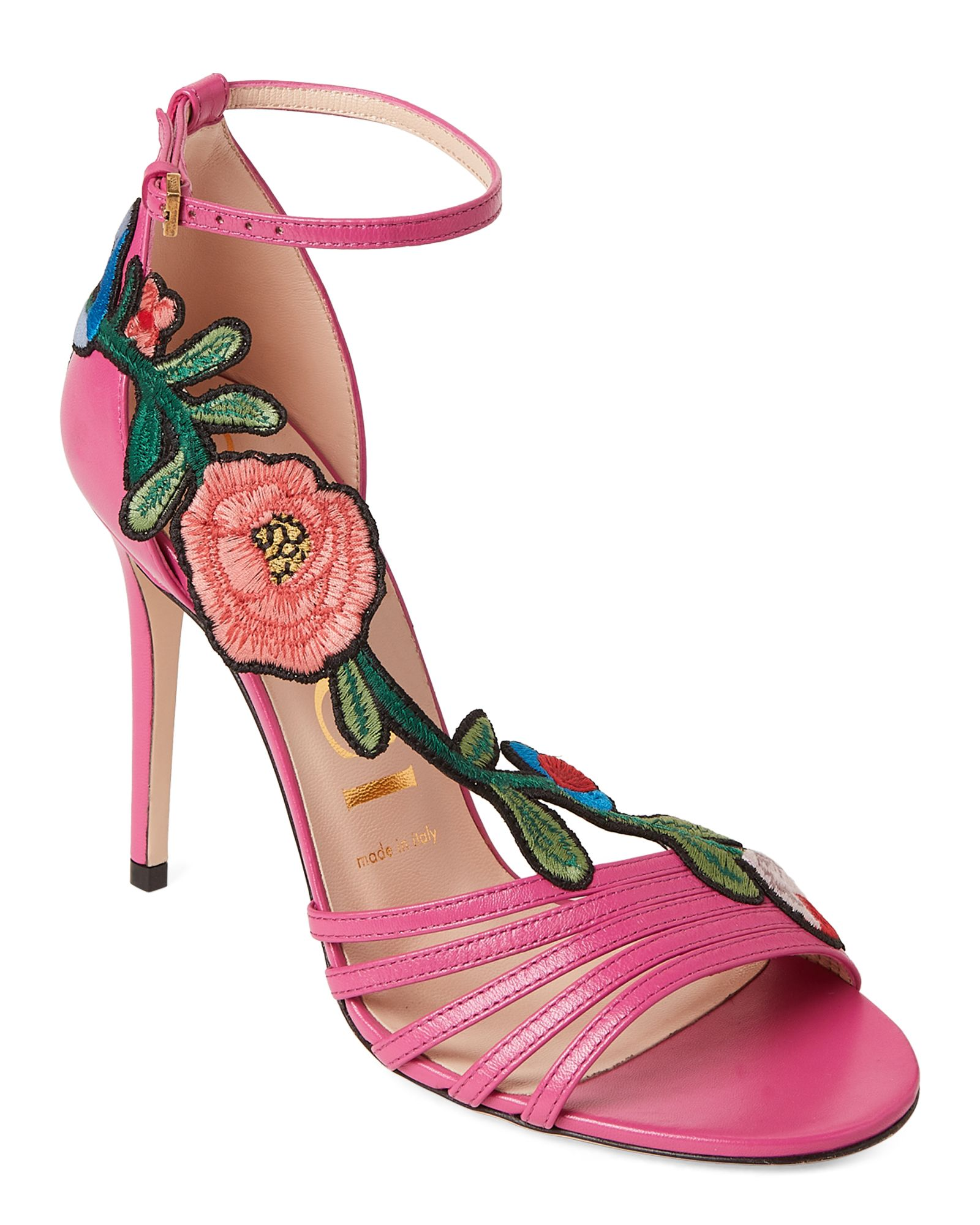 afda769a3da Gucci Pink Floral Embroidered Leather Sandals