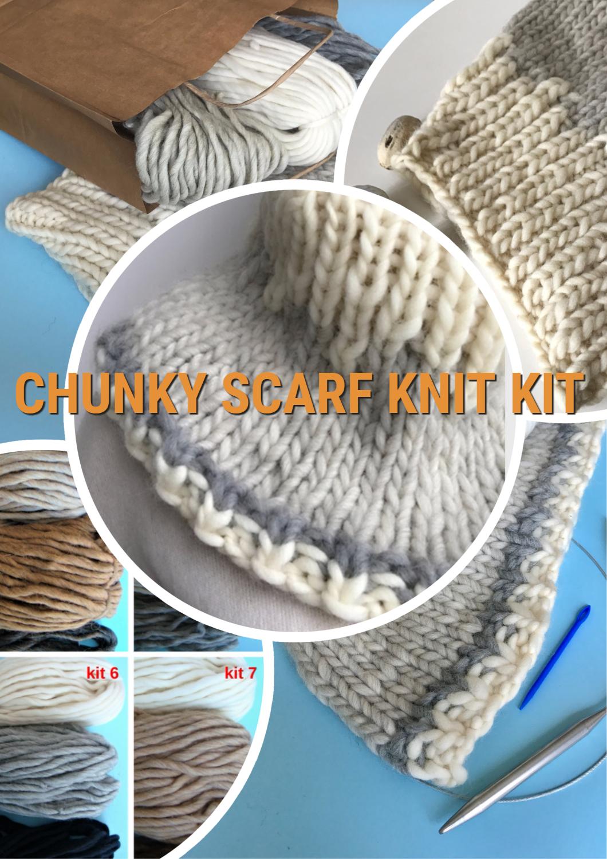 DIY scarf - knit kit - diy knitting kit, diy wool scaf, diy knitting ...