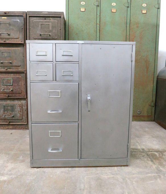 Steelcase Industrial Vintage Metal File Cabinet | Industrial metal ...