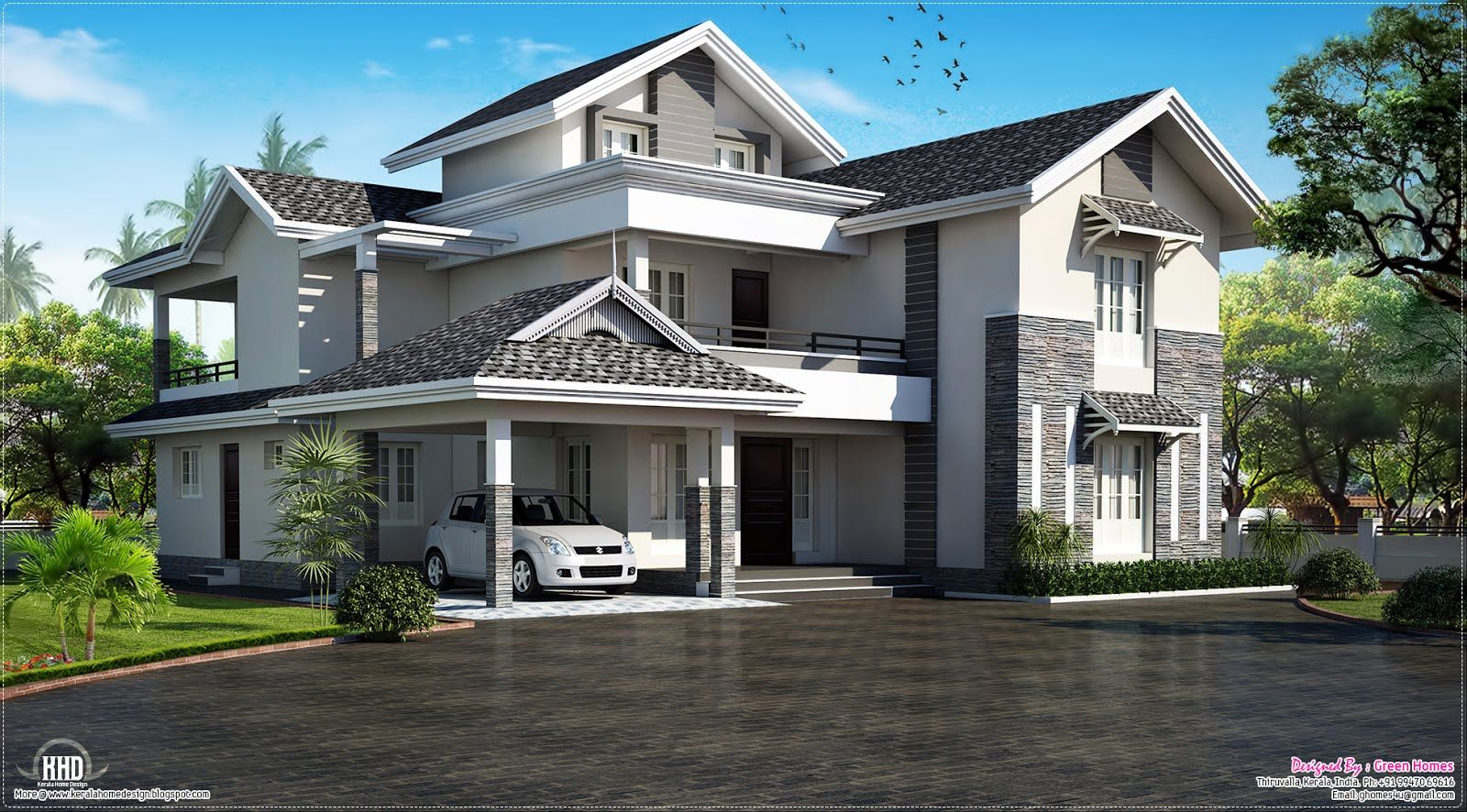 Sloping Roof House Villa Design Kerala Home Design And Floor - Green home designs floor plans