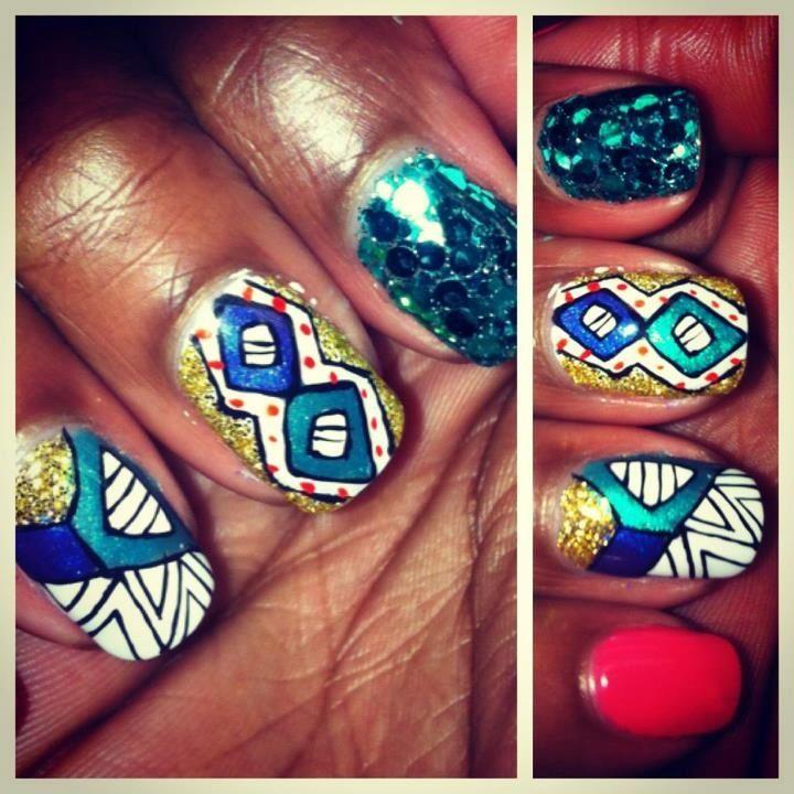 Nail Style: Barbie African Print Hand Painted @idaliassalon.com ...