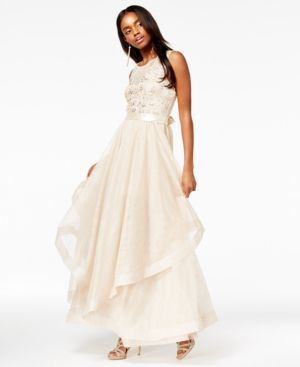 148c74d7b3 Say Yes to the Prom Juniors  Embellished Layered Gown