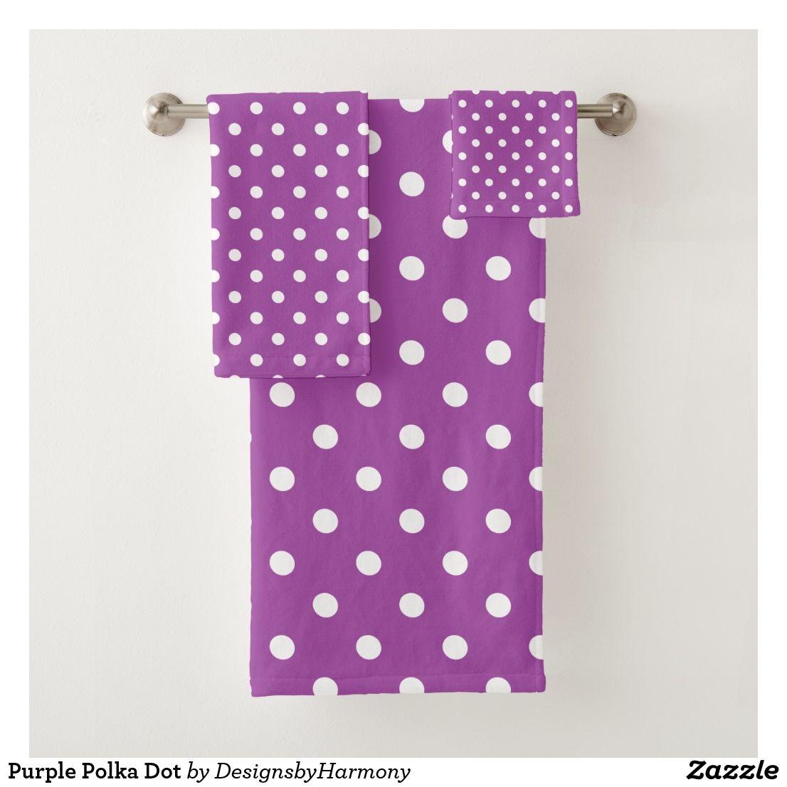 Purple Polka Dot Bath Towel Set Zazzle Com Towel Set Bath