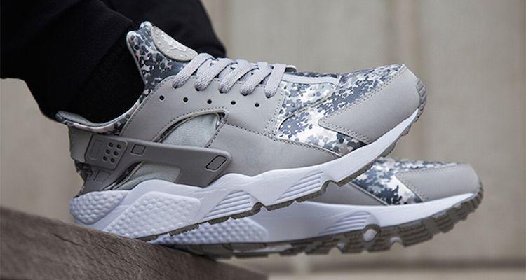 2015 Online Cheap Nike Air Huarache Snow Camo Pack Grey