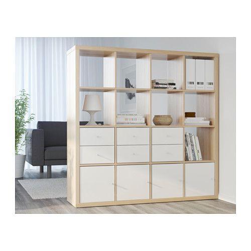 Kallax bloc 2 tiroirs brun noir chene blanchi bloc et ikea for Ikea chene blanchi