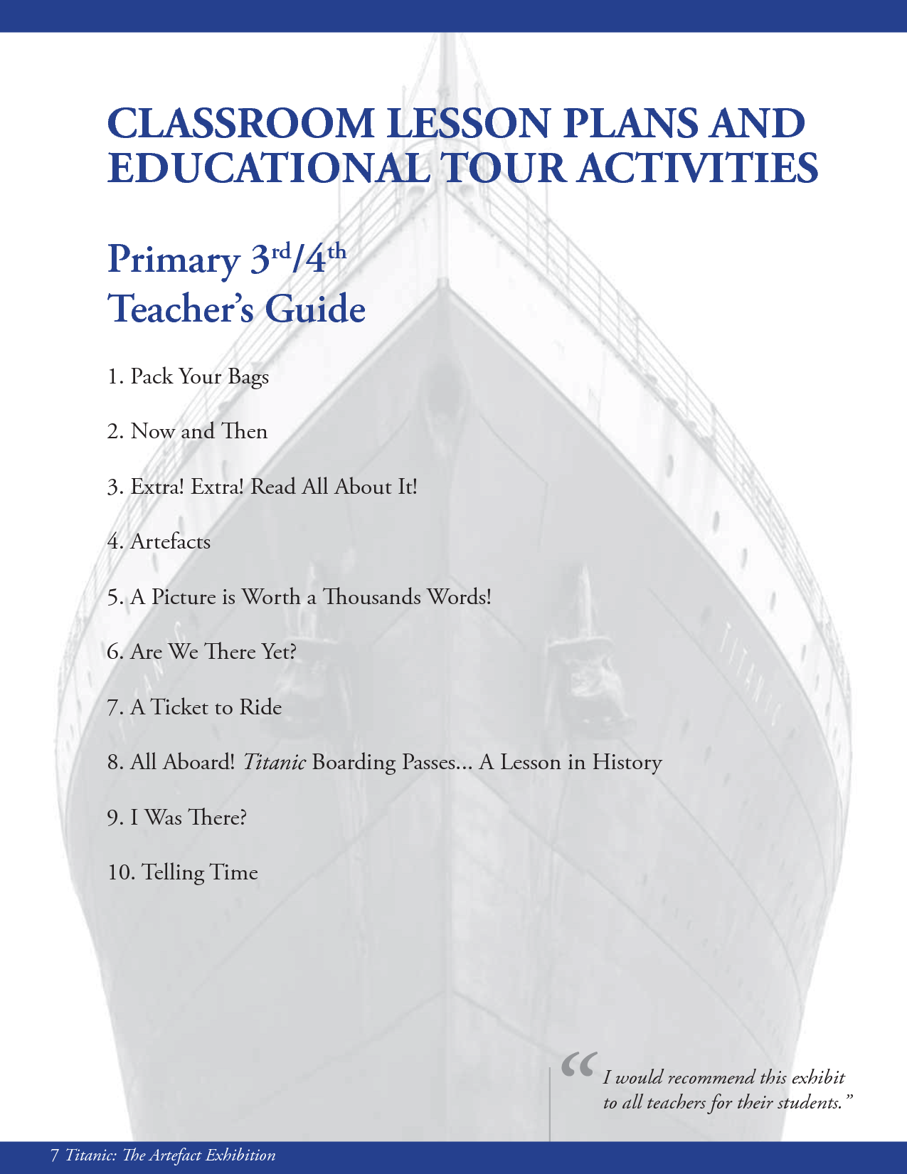 The Titanic Classroom Lesson Plans And Educational Tour
