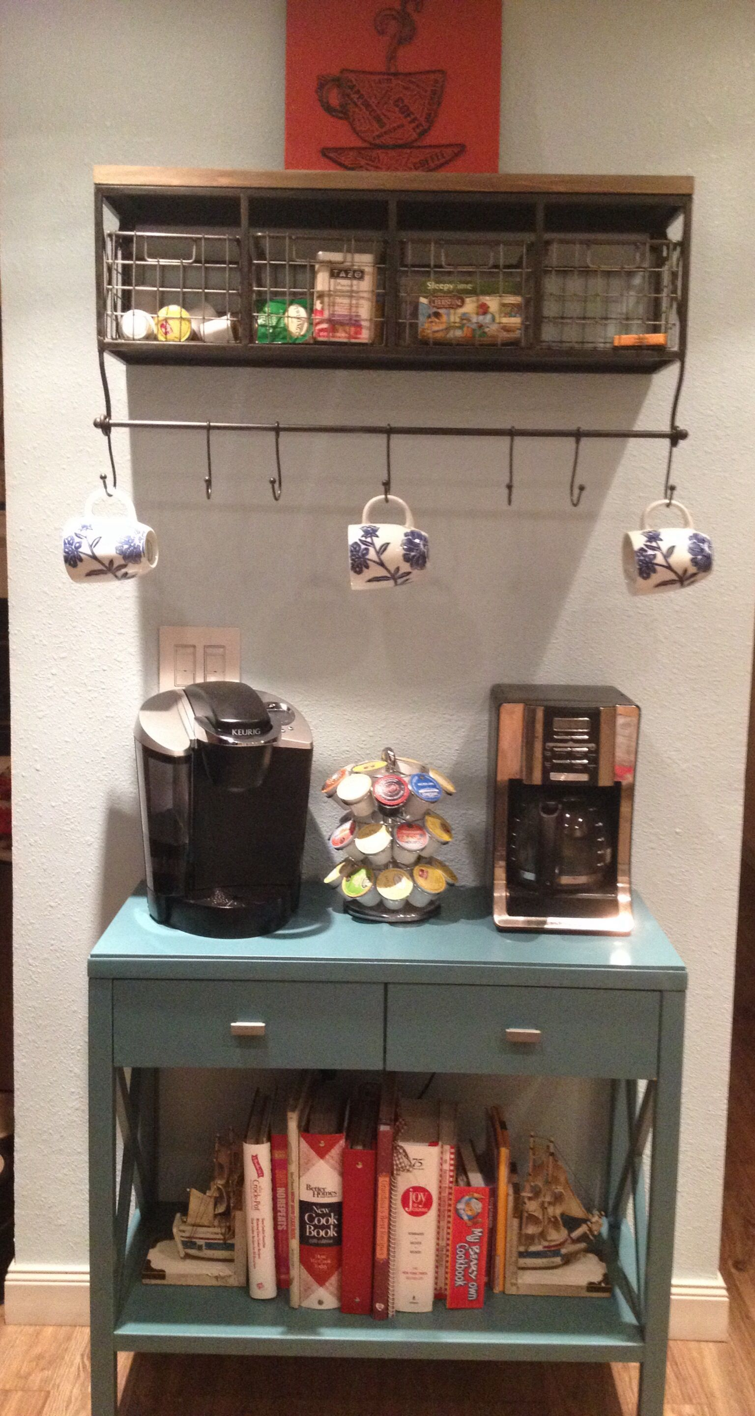 My awesome coffee bar. Shelf from Hobby Lobby, and the