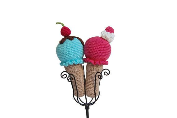 Crochet Ice Cream Rattle Raspberry Ice Cream Blue Moon Ice
