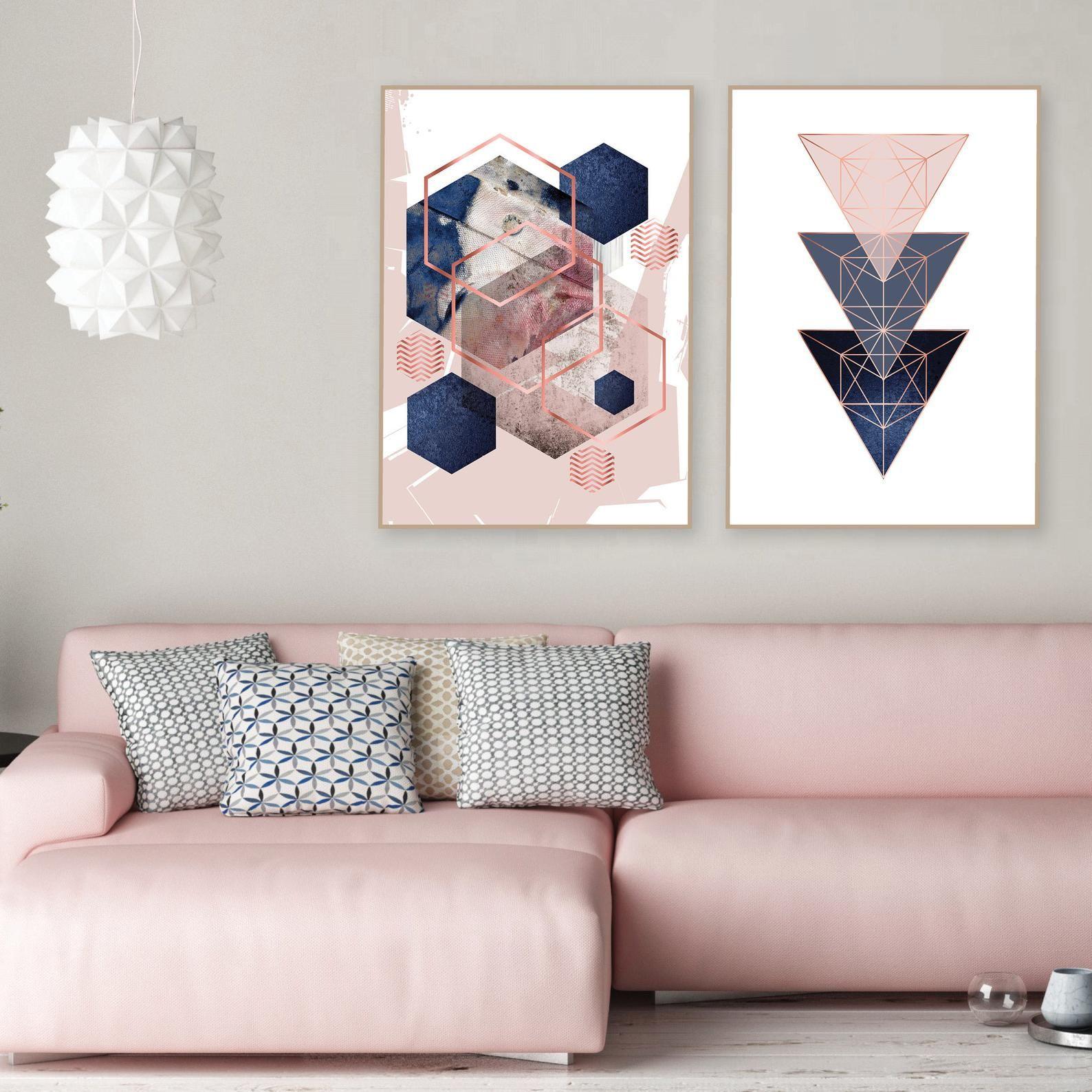Set Of 2 Printable Blush Pink Navy Blue Rose Gold Geometric Art