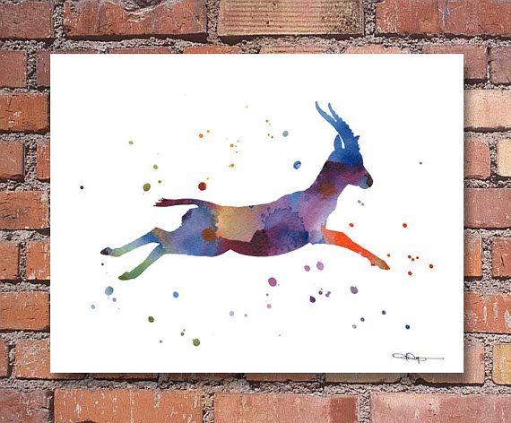 35d41bd3b7848 Gazelle Art Print - Watercolor - Wildlife Abstract Painting - Animal ...