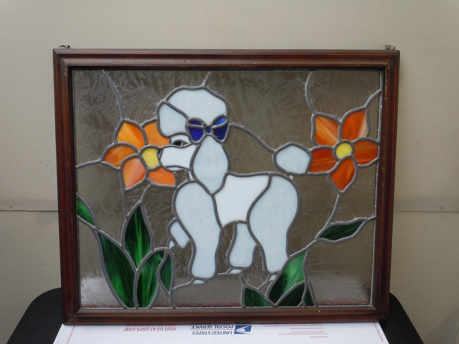 Wooden Framed Stained Glass Poodle Dog Hanging Beautiful - Ebay