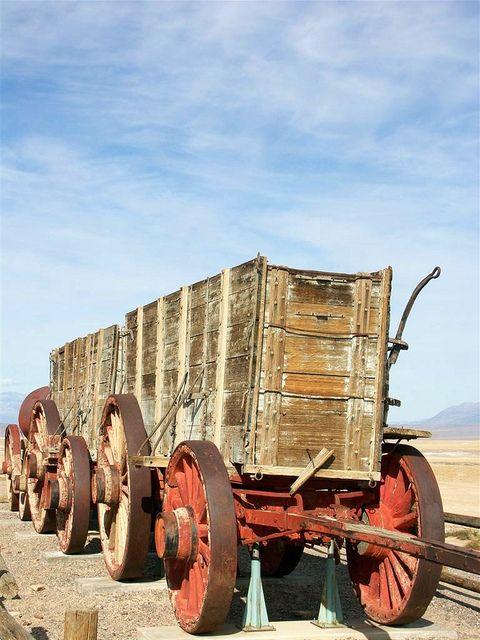 20-mule team wagon, Harmony Borax Works, Furnace Creek area, Death Valley National Park, California by jmlwinder