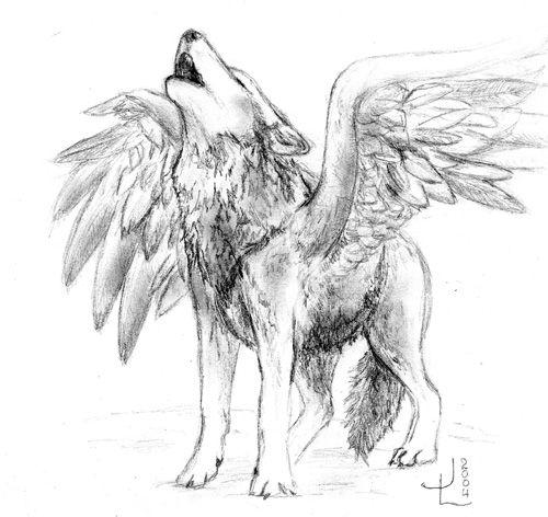 El Lobo Con Alas 0 Pinterest Lobo Dibujo Arte Y Dibujar Arte