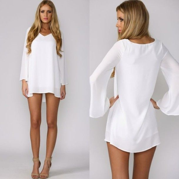 Dress: white dress, short dress, long sleeve dress, cute dress ...