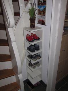 Shortened LILLÅNGEN children's shoe rack - IKEA Hackers.  Want this for our coat closet corner
