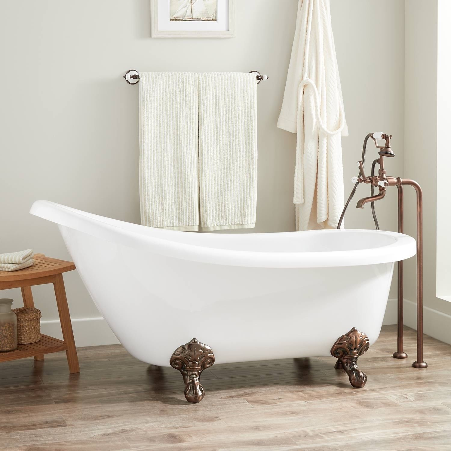 Signature hardware victorian acrylic slipper clawfoot tub with