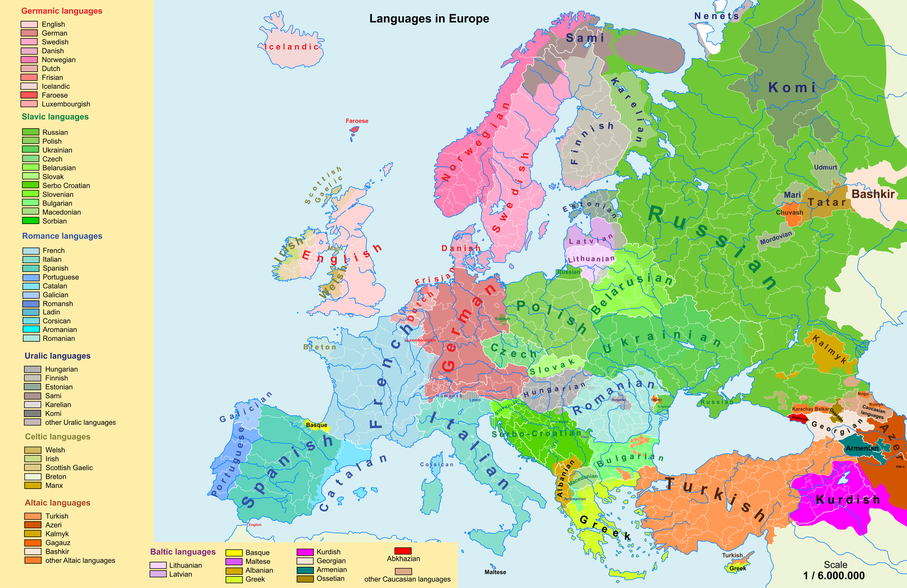 Linguistic Map Of Europe 3000 X 1945 Mapporn