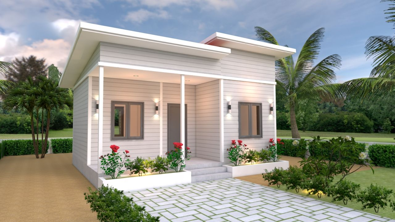 House Plans 7x6 With One Bedroom Shed Roof The House Has Car Parking And Garden Living Room Dining Room Small House Plans Small House Design Plans House Roof