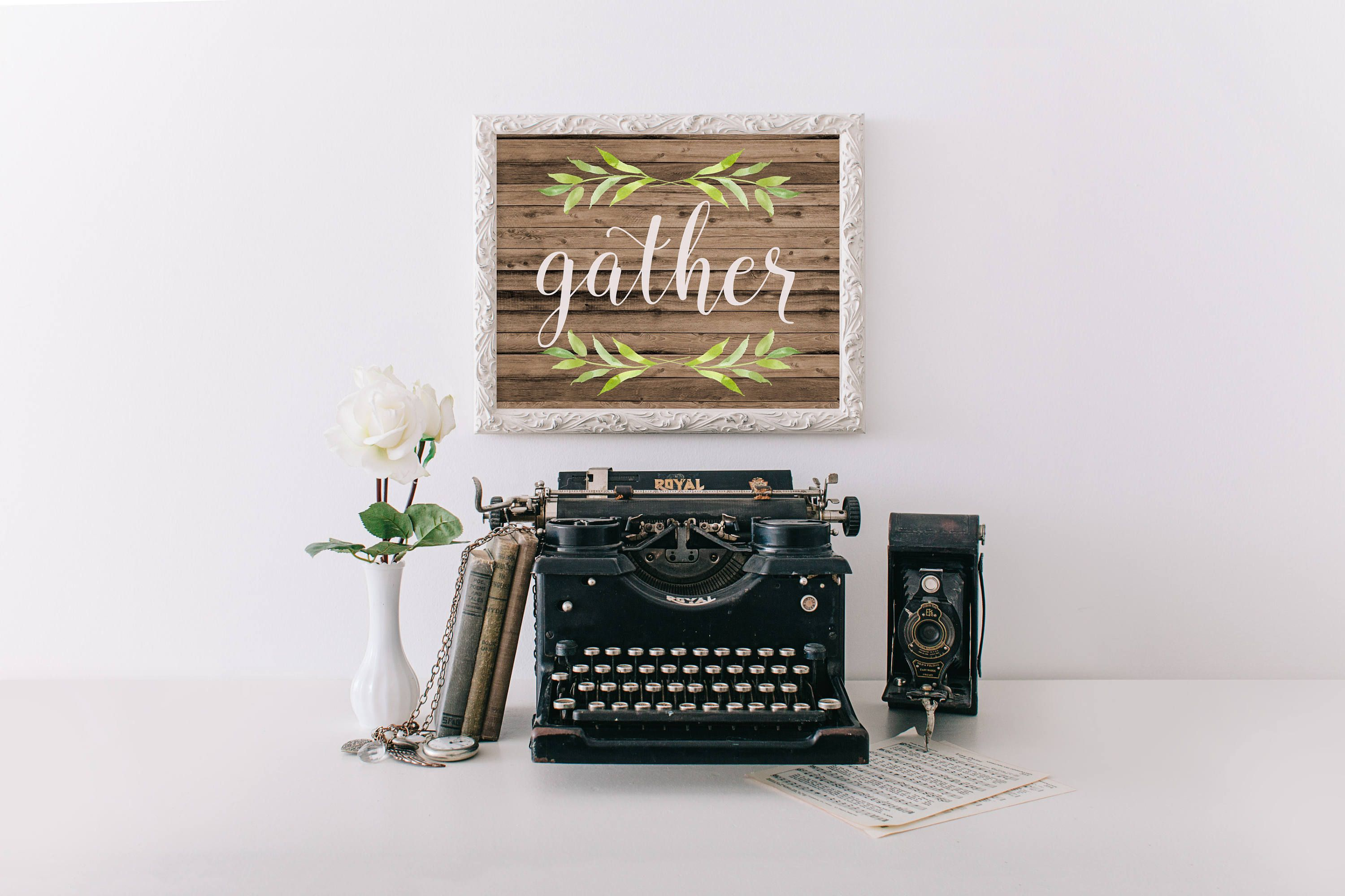 Gather sign printable gather wood sign fall decor french country