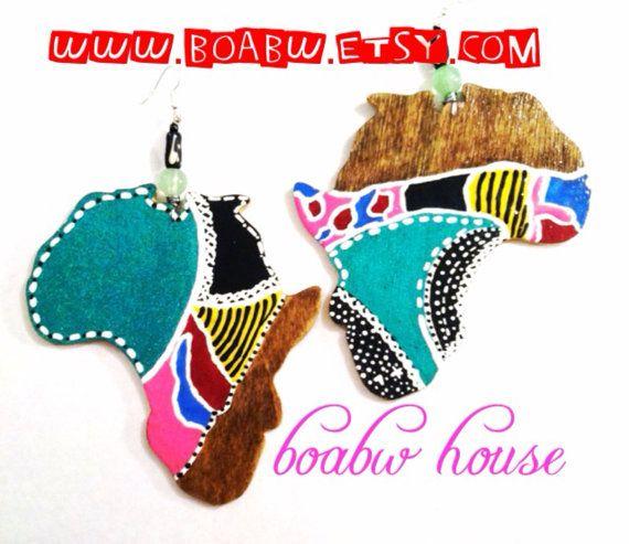 Woodstain Festive Africa Earrings by BOABW on Etsy, $30.00