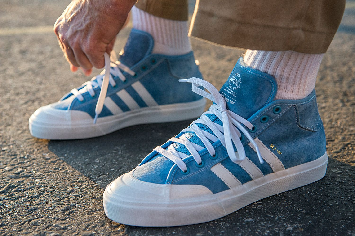 Marc Johnson is treated with a special variation of the classic adidas  Matchcourt Mid as a Global Pro team rider for adidas Skateboarding. 1f38d2c80d