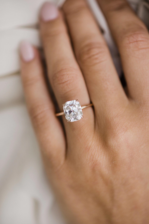 Art Nouveau Moissanite Engagement Ring 14K White Gold Ring Round Cut Moissanite Engagement Ring - Fine Jewelry Ideas