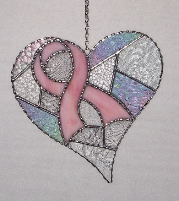 Stained Glass - Breast Cancer Ribbon and Heart, Breast Cancer Awareness, Clear Textured Abstract Heart