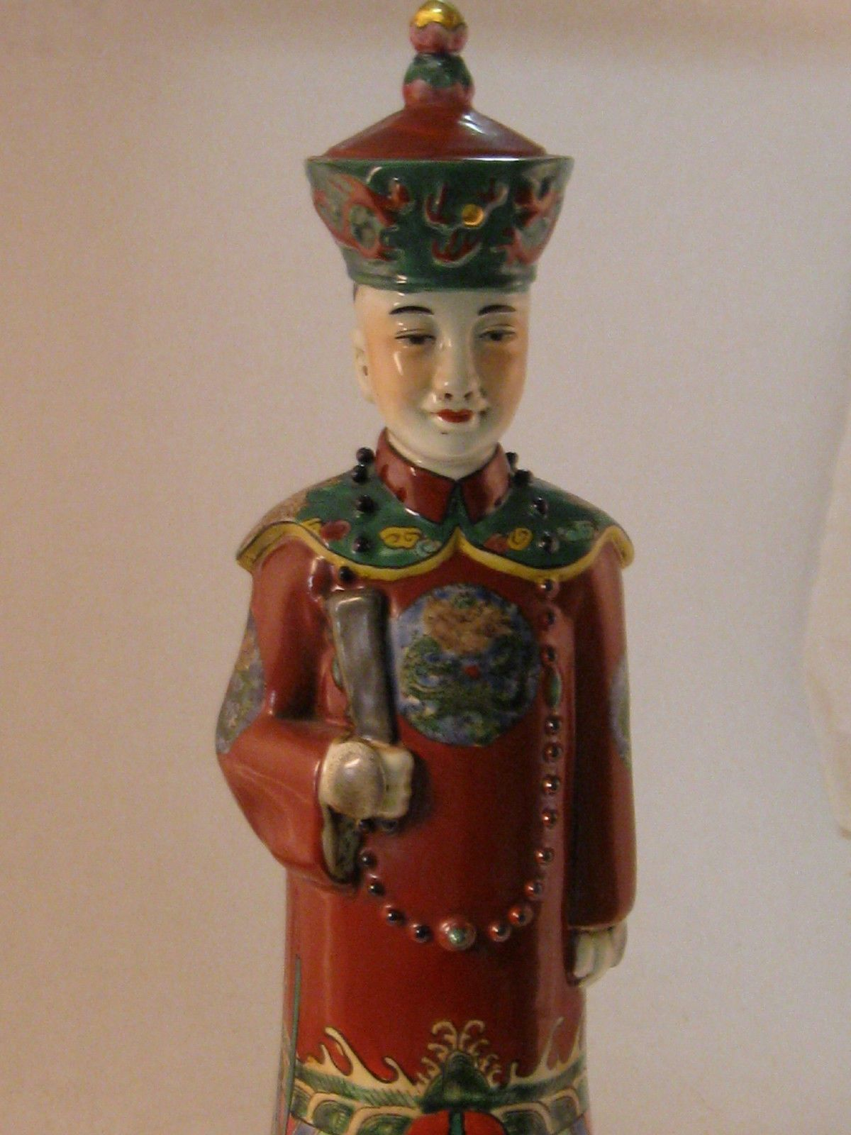 270mm Collectible Handmade Vintage porcelain Statue Qing Dynasty Emperor