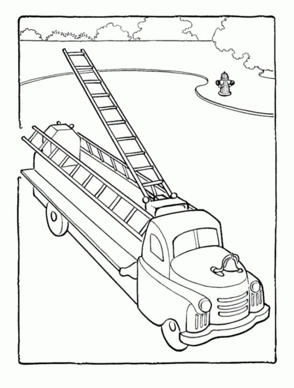 an old model of ladder truck in fire truck free printable coloring picture