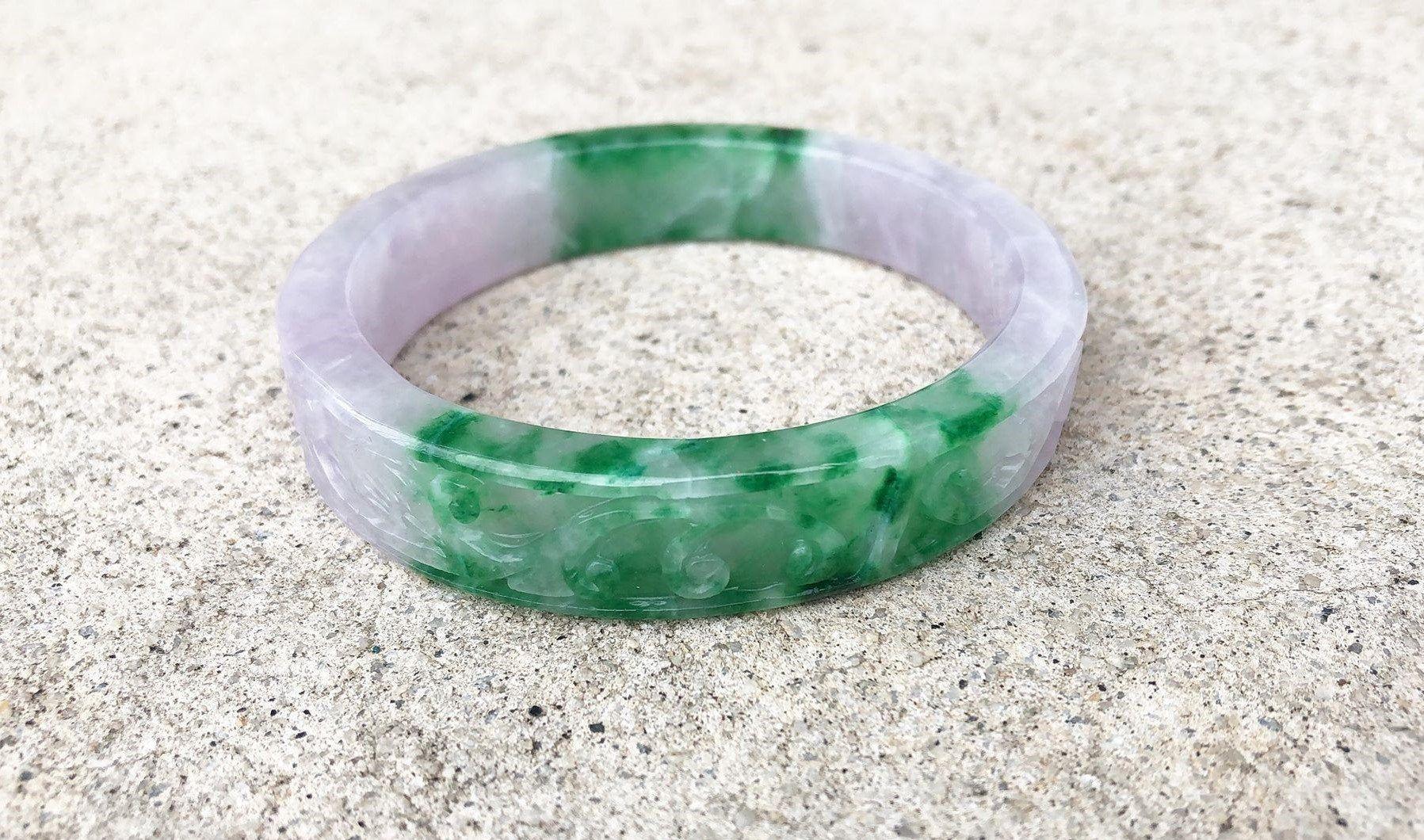 Translucent Natural Green Lavender Jadeite Jade Vintage Bangle Bracelet 52MM