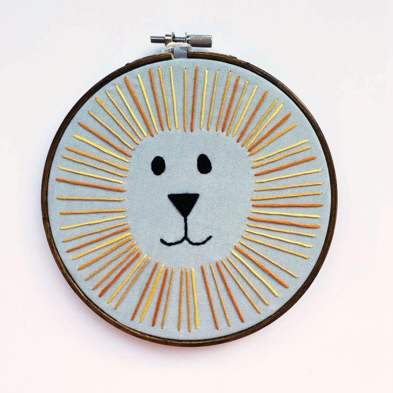 Mud Pie Safari Animal Embroidery Hoop Brown, Lion