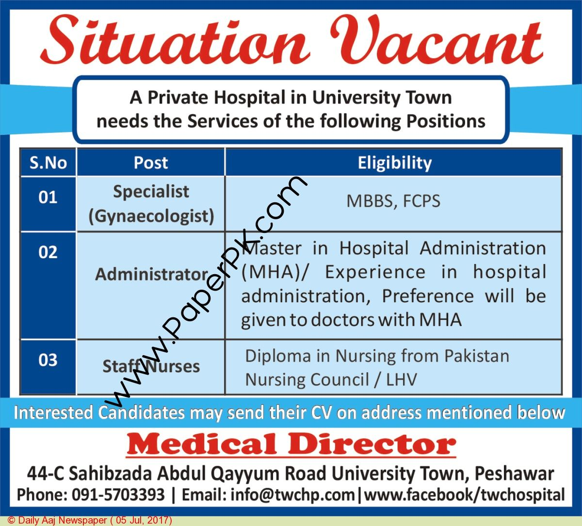 Administrator Staff Nurses Jobs In Peshawar  Jobs In Pakistan