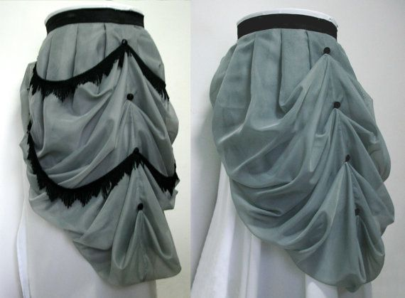 Steampunk Bustle Skirt Removable Fringe Grey Black  by Purpuratum, $54.00