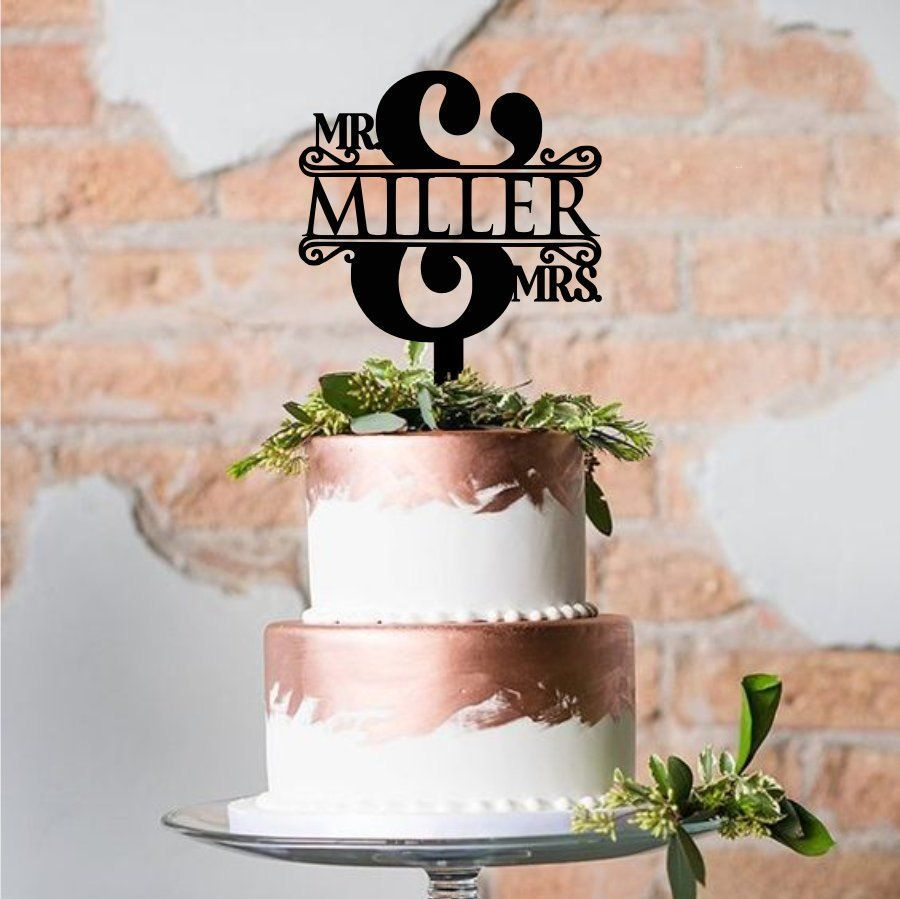 Mr and mrs split ampersand cake topper with name custom acrylic