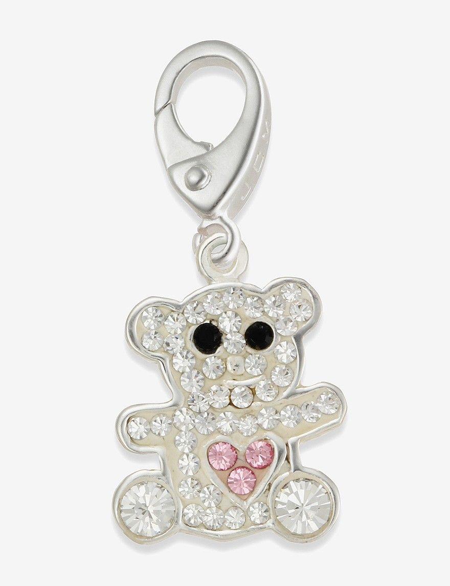 Sterling Silver Clear & Pink Crystal Teddy Bear Charm