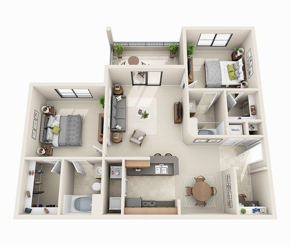 2 Bedroom With Desk Nook Area House Layout Plans Small Apartment Floor Plans Small House Design Plans