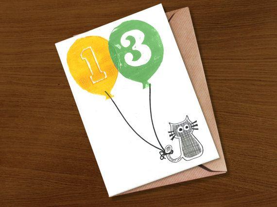 Birthday Card 13 Birthday Card 14 Birthday Card 15 13th Etsy Old Birthday Cards 16th Birthday Card Cat Birthday Card